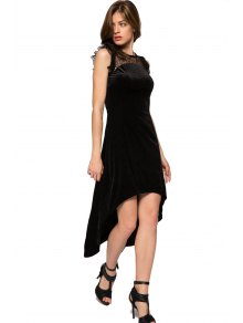 Lace Splicing High-low Hem Dress
