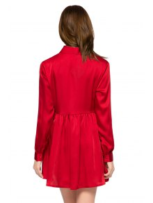 Red Turn-Down Collar Breasted Dress