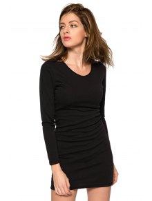 Black Long Sleeve Hollow Dress - BLACK XS