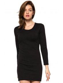 Black Long Sleeve Hollow Dress