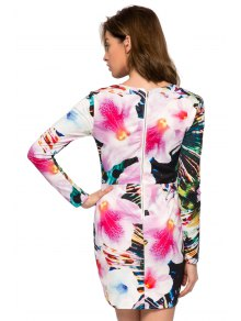 Floral Long Sleeve Bodycon Dress