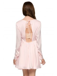 Solid Color Backless Long Sleeve Dress - PINK XS