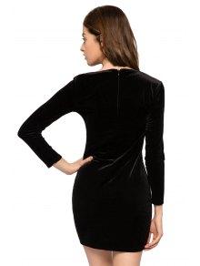 Kitten Embroidery Long Sleeve Dress - BLACK XS