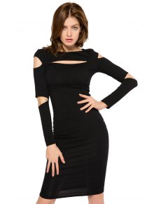 Black Long Sleeve Hollow Out Dress