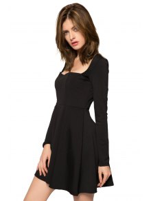 Long Sleeve Solid Color Backless Dress - BLACK XS