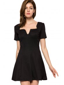 Short Sleeve Black A-Line Dress