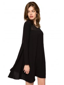 Long Sleeve Metal Embellished Dress - BLACK XS