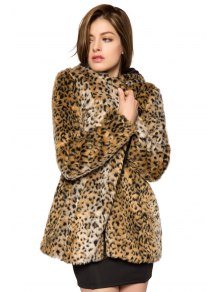 Leopard Print Hooded Faux Fur Coat