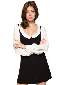Peter Pan Collar Color Block Dress
