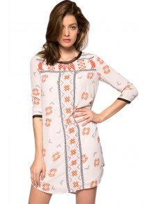 Print 3/4 Sleeve Lace-Up Dress