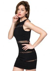 Voile Splicing Sleeveless Bodycon Dress - BLACK XS