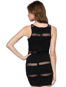 Voile Splicing Sleeveless Bodycon Dress
