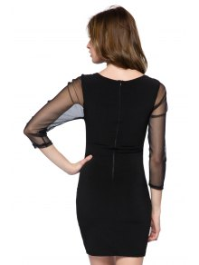 Hollow Out Long Sleeve Dress - BLACK XS