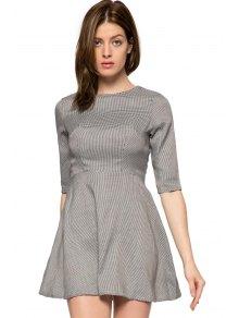 Houndstooth Half Sleeve A-Line Dress