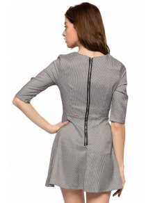 Houndstooth Half Sleeve A-Line Dress - GRAY XS