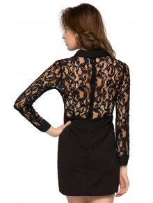 Long Sleeve Lace Splicing Dress - BLACK XS