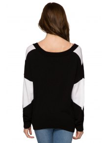 Plunging Neck Color Block Sweater