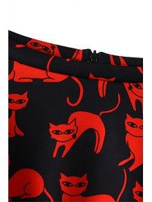 Kitten Print Flouncing Skirt