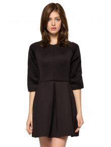 Solid Color 3/4 Sleeve A-Line Dress