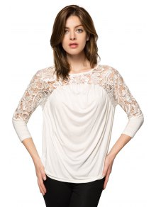 Lace Splicing Nine-Minute Sleeve Blouse