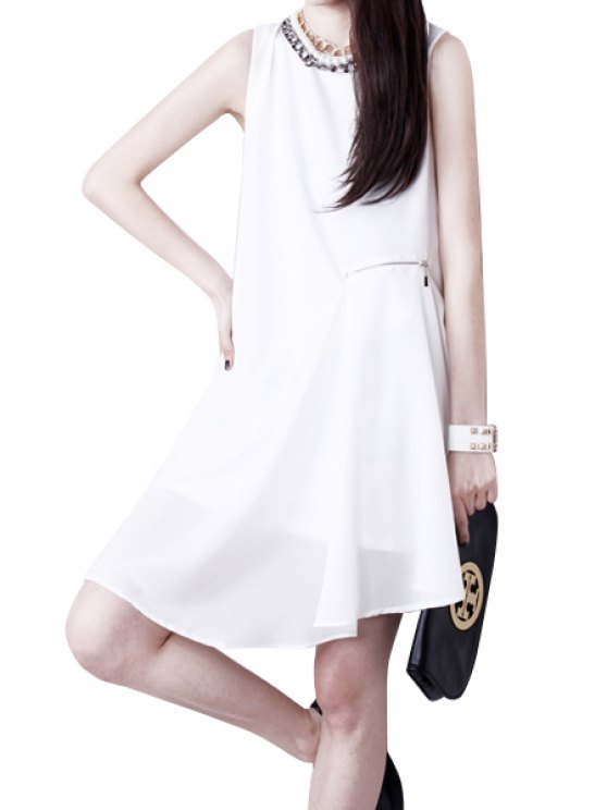 fashion Solid Color Sleeveless Irregular Dress - WHITE L