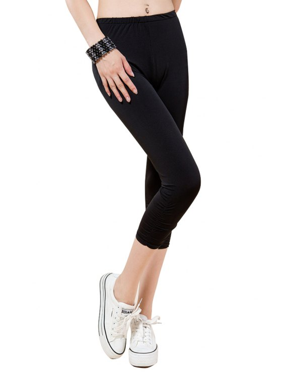 affordable Solid Color Modal Capri Pants - BLACK ONE SIZE(FIT SIZE XS TO M)
