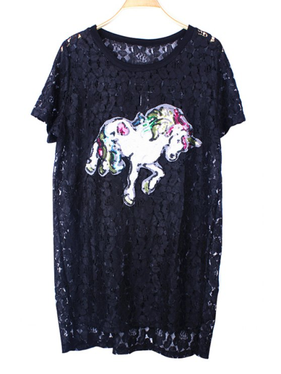 sale Sequins Horse Pattern Lace Blouse - BLACK ONE SIZE(FIT SIZE XS TO M)