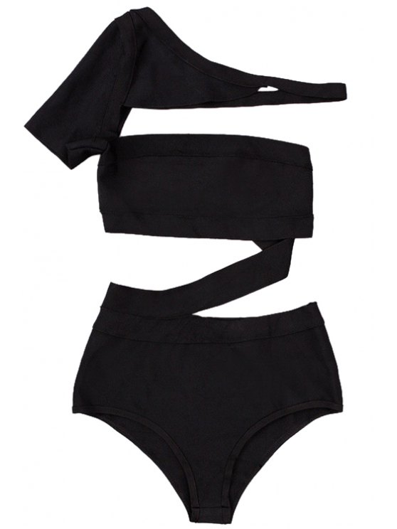 fashion Solid Color One-Piece Bandage Swimwear - BLACK XS