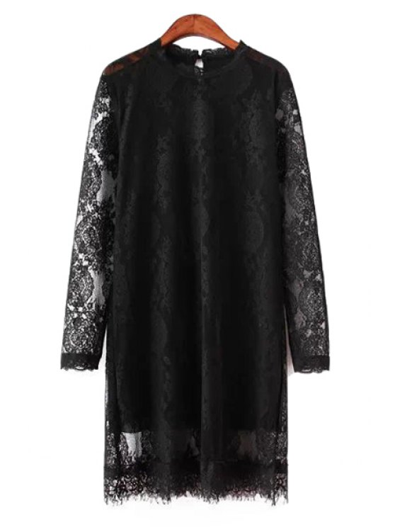 hot Lace Openwork Long Sleeve Dress - BLACK L