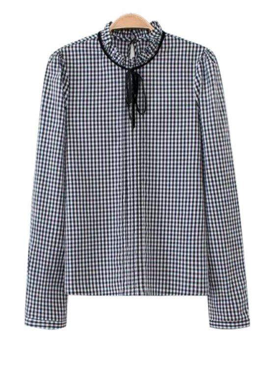 sale Ruff Collar Plaid Shirt For Women - BLUE AND WHITE S