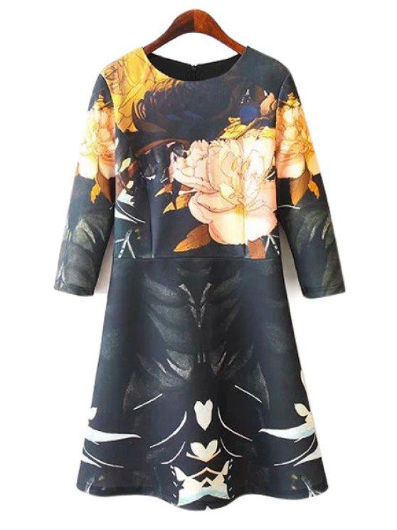 shops Floral Print 3/4 Sleeve Dress - COLORMIX S