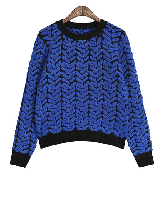 womens Jacquard Long Sleeve Sweater - BLUE S