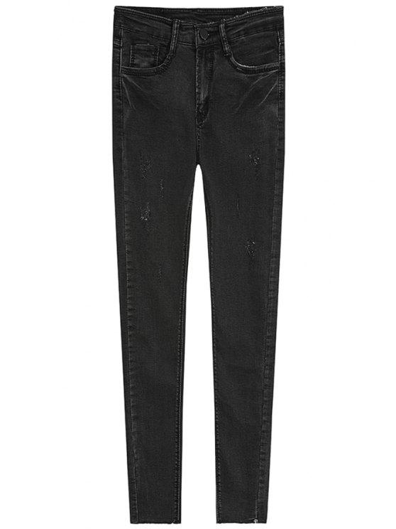 fashion Bleach Wash Vintage Jeans - DEEP GRAY S