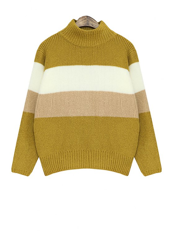 best Stripe Color Block Long Sleeve Sweater - YELLOW ONE SIZE(FIT SIZE XS TO M)
