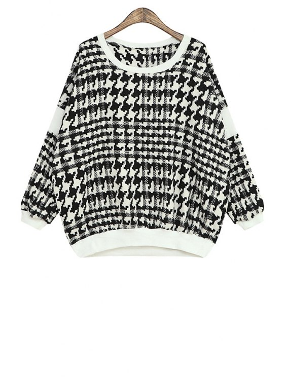 trendy Houndstooth Color Block Long Sleeve Sweatshirt - WHITE ONE SIZE(FIT SIZE XS TO M)