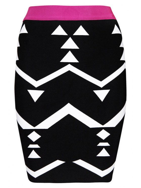 lady Geometric Pattern Bandage Skirt - BLACK XS
