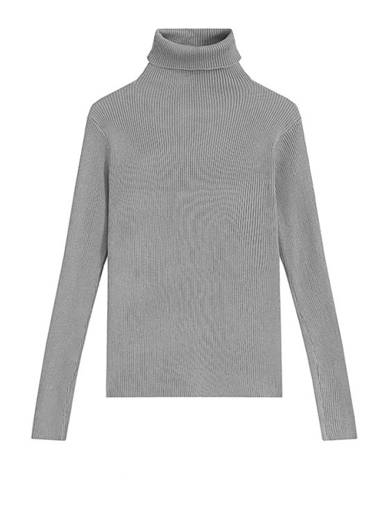 shops Turtle Neck Solid Color Sweater For Women - GRAY ONE SIZE(FIT SIZE XS TO M)
