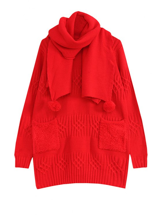 fashion Solid Color Pockets Long Sleeve Dress + Scarf - RED ONE SIZE(FIT SIZE XS TO M)
