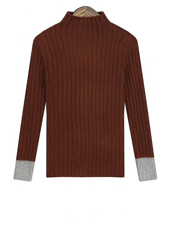 ladies Turtle Neck Color Block Sweater For Women - COFFEE ONE SIZE(FIT SIZE XS TO M)