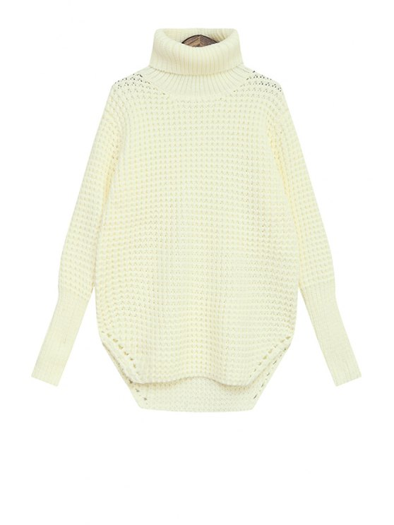 fashion Turtle Neck Asymmetrical Sweater For Women - WHITE ONE SIZE(FIT SIZE XS TO M)