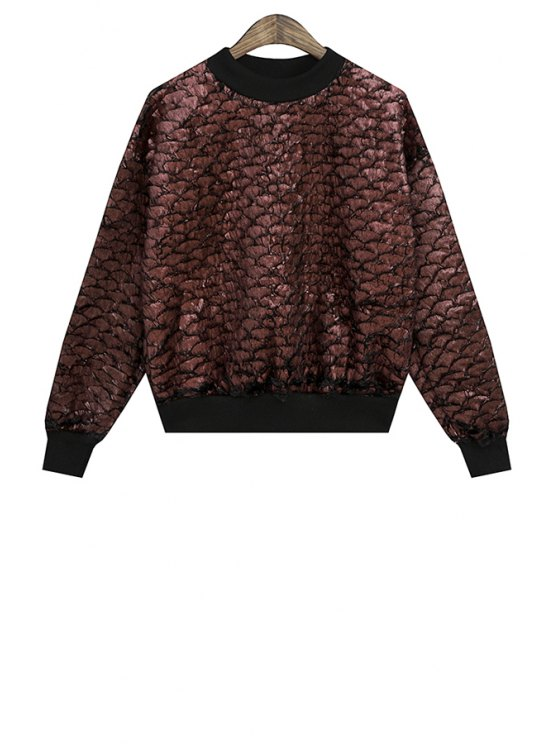 best Gilding Long Sleeve Sweatshirt For Women - CLARET ONE SIZE(FIT SIZE XS TO M)