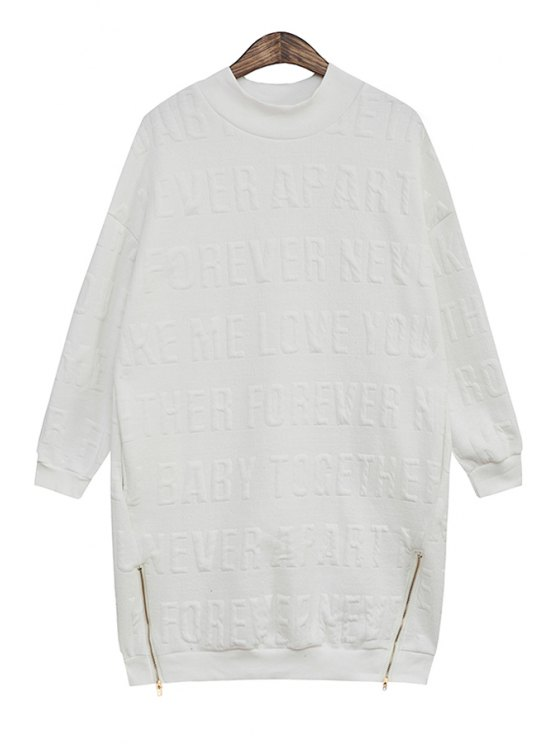 outfit Letter Pattern Zipper Sweatshirt - WHITE ONE SIZE(FIT SIZE XS TO M)