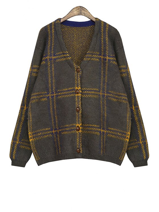 fancy V-Neck Plaid Color Block Cardigan - YELLOW ONE SIZE(FIT SIZE XS TO M)