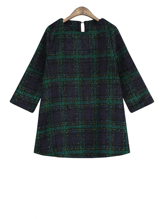 sale Color Block Plaid Long Sleeve Dress - GREEN ONE SIZE(FIT SIZE XS TO M)