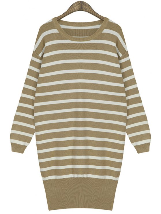 sale Stripe Color Block Sweater For Women - KHAKI ONE SIZE(FIT SIZE XS TO M)