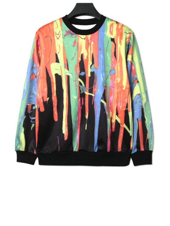 new Long Sleeves Colorful Print Sweatshirt - COLORMIX ONE SIZE(FIT SIZE XS TO M)