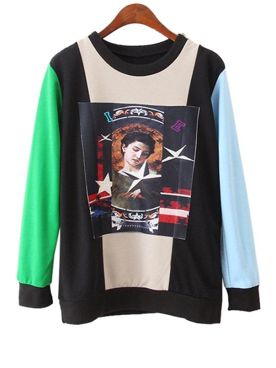 shop Color Block Figure Print Long Sleeve Sweatshirt - COLORMIX ONE SIZE(FIT SIZE XS TO M)