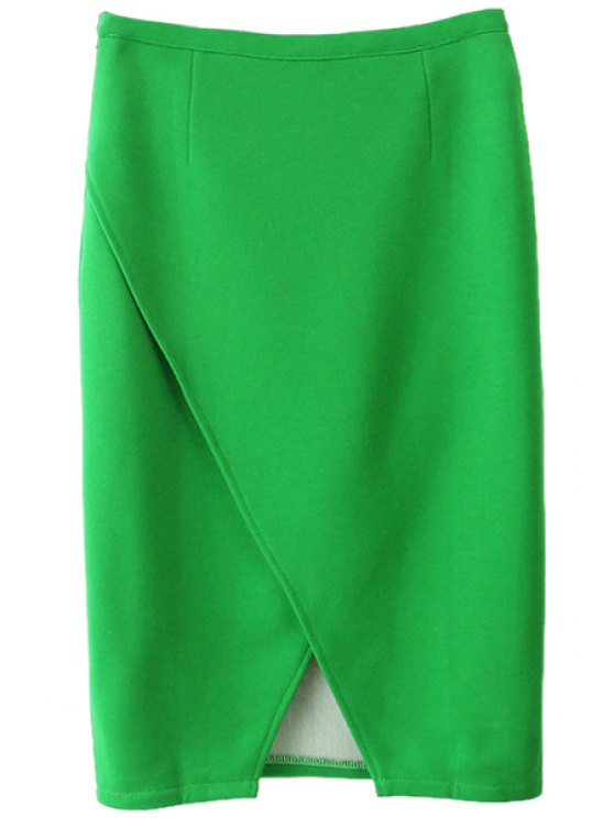 affordable Solid Color Slit Skirt - GREEN ONE SIZE(FIT SIZE XS TO M)