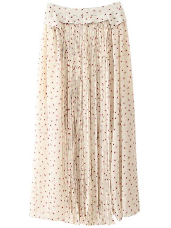 buy Tiny Floral Print Long Skirt - WHITE S