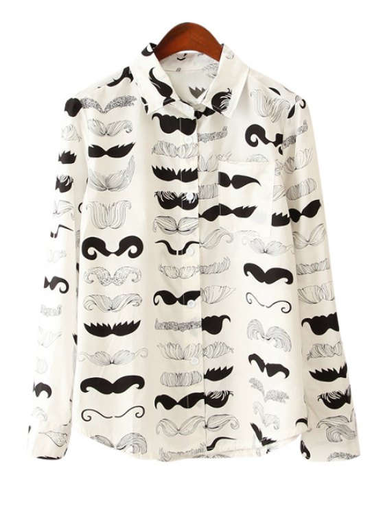 sale Mustache Print Long Sleeve Shirt - WHITE AND BLACK ONE SIZE(FIT SIZE XS TO M)